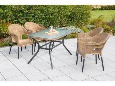 MERXX Gartenmöbelset »Ravenna«, 5tlg., 4 Sessel, Tisch, stapelbar, Polyrattan, natur, natur