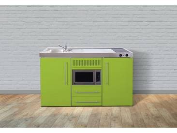 Stengel Metall-Miniküche MPM 150, Kühlschrank, Mikrowelle, 2er Glaskeramik-Kochfeld, Spülbecken, Breite 150 cm, grün