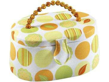 Home affaire Nähkästchen, oval, Textil in grün-orange Griff aus orangenen Kunststoffperlengriff