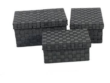 Franz Müller Flechtwaren Aufbewahrungsbox (Set, 3 Stück), schwarz, 313539x212527x141619 cm, schwarz