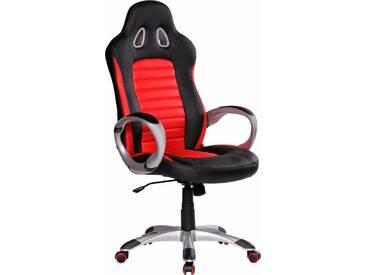 Amstyle Chefsessel »Racer«, mit gepolsterten Armlehnen, rot, rot/schwarz