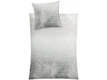 Kleine Wolke Bettwäsche »Wimp«, mit feinem Schriftzug, grau, 1x 155x220 cm, Mako-Satin, platinfarben