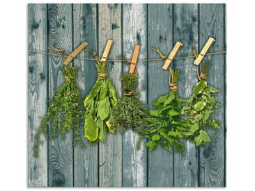 Artland Küchenrückwände »Team 5: Kräuter mit Holzoptik«, grün, 65x70 cm, Grün