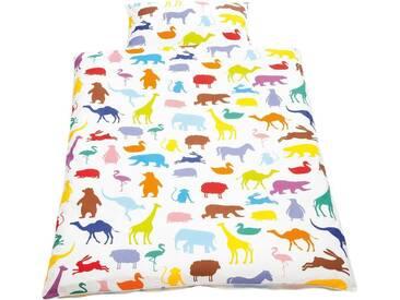 Pinolino® Babybettwäsche »Happy Zoo«, mit hochwertiger Paspelkonfektion, bunt, 1x 100x135 cm, Perkal, bunt