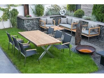bella sole BELLASOLE Gartenmöbelset 7-tlg., 6 Stühle, Tisch 200x100 cm, Teakholz, grau, grau/holzfarben