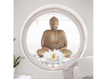 Bilderwelten Fenstersticker »Lotus Holz Buddha«, braun, Braun