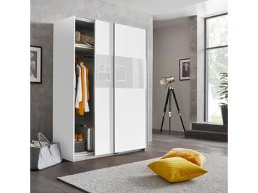 Wimex Schwebetürenschrank »Bramfeld« mit Glaselementen und zusätzlichen Einlegeböden, weiß, Höhe: 198 cm, Breite: 135 cm, weiß/Absetzung Weißglas