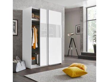 Wimex Schwebetürenschrank »Bramfeld« mit Glaselementen und zusätzlichen Einlegeböden, weiß, 135x198x64 (BxHxT) cm, 2-türig, weiß/Absetzung Weißglas