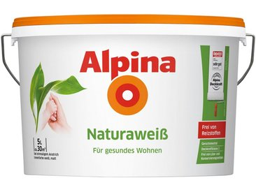 Alpina ALPINA Wand- und Deckenfarbe »Naturaweiß«, matt, weiß, 5 l, weiß