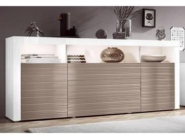 borchardt Möbel Borchardt Möbel Sideboard, Breite 166 cm, weiß, weiß Hochglanz/softgrau Hochglanz Riffel-Optik
