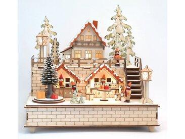 HGD Holz-Glas-Design Weihnachtsstadt mit Spieluhr für Batterie- und Netzbetrieb