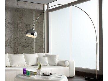 DELIFE Stehlampe Big-Deal Silber höhenverstellbar Bogenleuchte, silberfarben, 190x45 cm, Material: Metall, Marmor, Silber