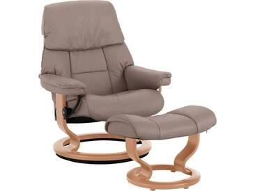Stressless® Set: Relaxsessel mit Hocker »Ruby« mit Classic Base, Größe S, mit Schlaffunktion, braun, Fuß naturfarben, mole