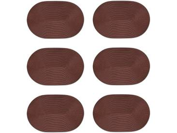 Zeller Present Platzset (Set 6-tlg), oval, braun, Kunststoff, braun