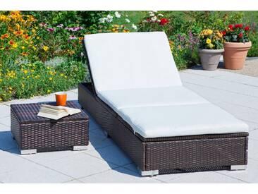 MERXX Gartenliege , Polyrattan, verstellbar, braun, inkl. Kissen, braun, 1 Stuhl, braun