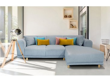 andas Ecksofa »Maroon«, in skandinavischem Design, mit losen Kissen, blau, 285 cm, Recamiere rechts, blau