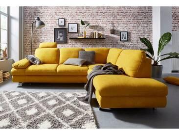 TRENDMANUFAKTUR Ecksofa, gelb, 260 cm, Ottomane rechts, mais