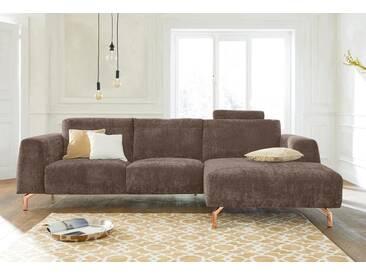 Guido Maria Kretschmer Home&Living GMK Home & Living Polsterecke »Logge«, natur, Recamiere rechts, mit Messingfüßen, sand
