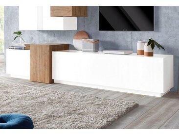 Tecnos Lowboard »Kubo«, Breite 270 cm, weiß, weiß Hochglanz/eichefarben