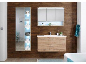 welltime Spiegelschrank »Best« mit LED Beleuchtung, natur, Wildeiche Nachbildung