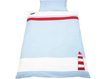 Pinolino® Babybettwäsche »Schiff Ahoi«, mit aufwendingen Applikationen, blau, 1x 100x135 cm, Perkal, blau