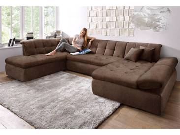 DOMO collection Wohnlandschaft, braun, 353 cm, Ottomane links, braun