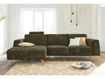 Guido Maria Kretschmer Home&Living GMK Home & Living Polsterecke »Logge«, grün, Recamiere links, mit Messingfüßen, olive