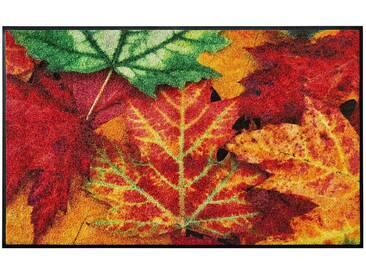 wash+dry by Kleen-Tex wash & dry Fußmatte Blätterrauschen, waschbar, orange, orange/grün