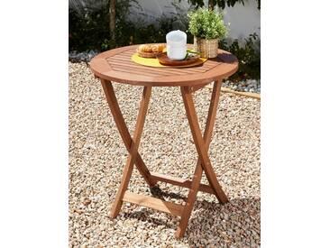 MERXX Gartentisch »Borkum«, Eukalyptusholz, klappbar, Ø 65 cm, braun, braun, braun