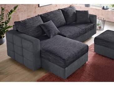 sit&more Ecksofa, inklusive Bettfunktion und Bettkasten, grau, 233 cm, Recamiere beidseitig montierbar, dunkelgrau/aubergine