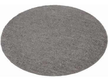 my home Hochflor-Teppich »Bodrum«, rund, Höhe 30 mm, grau, 30 mm, grau