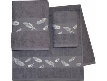 Dyckhoff Handtuch Set »Feder«, mit schöner Bordüre und Feder Motiven, grau, 3tlg.-Set, anthrazit