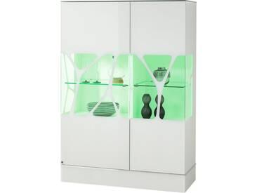 LEONARDO living Highboard »CUBE« mit Genetics, Höhe 110 cm, weiß, Mit RGB Beleuchtung & Fernbedienung, weiß