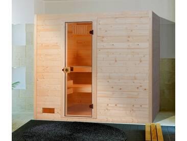weka WEKA Sauna »Lars Trend 2«, 187x187x203,5cm, 9-kW-Ofen mit int. Steuerung, natur, 9-kW-Ofen mit integrierter Steuerung, natur