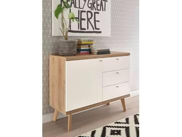 andas Sideboard »Merle« im skandinavischen Design, Breite 107 cm, braun, Eiche Riviera NB/ Weiss matt