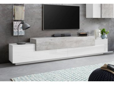 Tecnos Lowboard »Coro«, Breite 240 cm, grau, weiß Hochglanzfronten/betonfarben