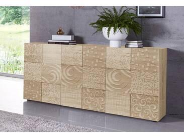 LC »Miro« Sideboard, Breite 181 cm mit dekorativem Siebdruck, natur, ohne Aufbauservice, Eichefarben sägerau mit Siebdruck