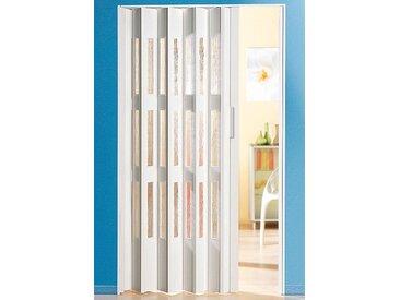 Kunststoff-Falttür , Höhe nach Maß, weiß mit Fenstern in Riffelstruktur, weiß, 135 cm, weiß