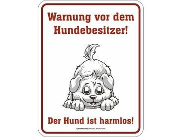 Rahmenlos Blechschild mit lustigem Hunde-Print, bunt, mehrfarbig