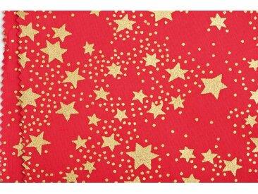 "Baumwoll-Stoff ""Sterne rot"" 145 cm breit (Meterware)"