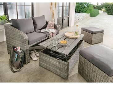 Destiny DESTINY Loungeset »Jersey«, 10-tlg., 2er-Sofa, 2 Hocker, Tisch 108x58 cm, inkl. Auflage, grau, grau