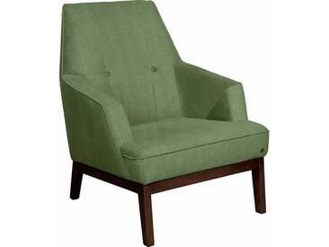 TOM TAILOR Sessel »COZY«, im Retrolook, mit Kedernaht und Knöpfung, Füße nussbaumfarben, grün, pistachio TUS 5