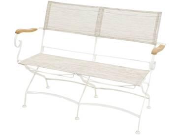 Ploß PLOSS Gartenbank »Rom«, Teak/Eisen, weiß, weiß, 128 cm, weiß