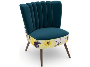 Max Winzer® build-a-chair Stuhlsessel »Aspen« im Retrolook, zum Selbstgestalten, grün, Korpus: Microvelours Blüte gelb, Samtvelours petrol