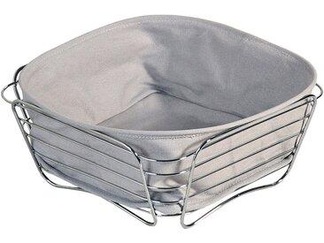 KESPER for kitchen & home Brotkorb, Metall, Baumwolle, vielseitig einsetzbar, grau, (L/B/H) 26 x 26 x 11 cm, grau-silberfarben