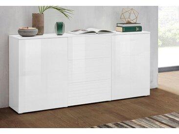 borchardt Möbel Sideboard »Savannah«, Breite 139 cm, weiß, weiß-HG/weiß-Riffel-MDF-Hochglanz