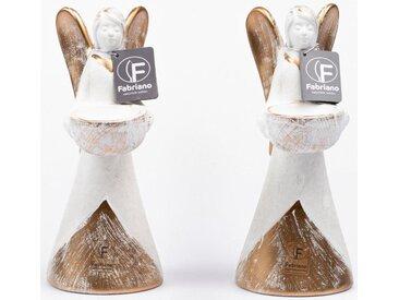 Fabriano Kerzenhalter »Engel Isabella« (Set, 2 Stück), weiß, 9x12x21,5 cm, weiß-goldfarben