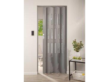 Kunststoff-Falttür »Elvira«, Höhe nach Maß, grau gewebt mit Cristall Fenstern, grau, 112 cm, grau gewebt