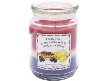 Candle-lite™ Duftkerze »Three-Layer Jars - Cherry Tart, Lemon Vanilla Swirl, Blackberry Cobbler«, bunt, blau-weiß-rot