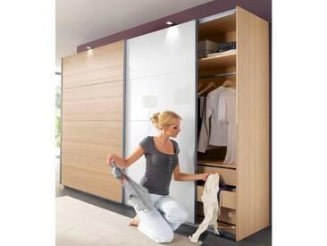 Wimex Schwebetürenschrank »Easy«, mit Teilglas, natur, Breite 135 cm, struktureichefarben hell/Weißglas